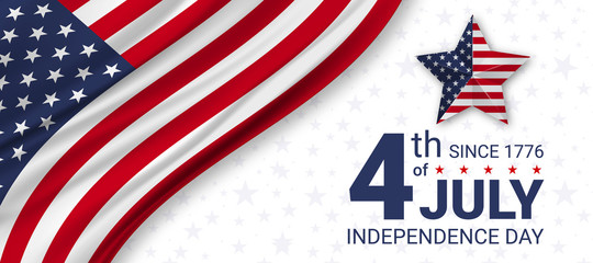 4th of July Independence day of USA. Independence Day celebrations in the United States of America. Vector illustration.