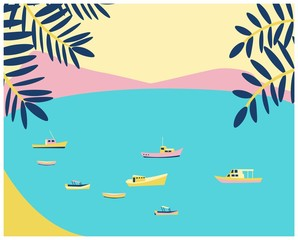Photo sur Plexiglas Turquoise Beach blue coast. Marine view poster with fishing boats, yachts and ships. Retro vintage poster in flat style. Vector
