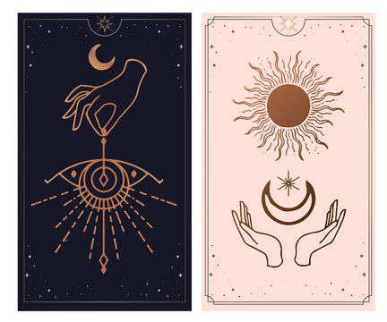 moon and sun Hands, Vintage Fortune Teller Hand with palm reading chart. Sketch graphic illustration with mystic and occult hand drawn symbols. astrological and esoteric concept.