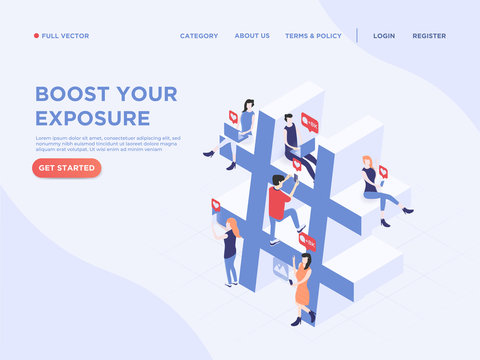 People interacting with others via social media and hashtag to gain exposure and share informations. 3d isometric. Landing page concept. Flat vector illustration.