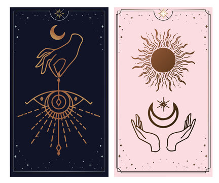 Moon, wave and hand gold logo, tarot reader of spiritual guidance. Colorful design. Vector illustration in magical vintage style. Gold decorative frame with the sun on a black background