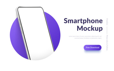 Fototapeta White realistic smartphone mockup in the circle. 3d mobile phone with blank white screen. Modern cell phone template on gradient background. Illustration of device 3d screen obraz