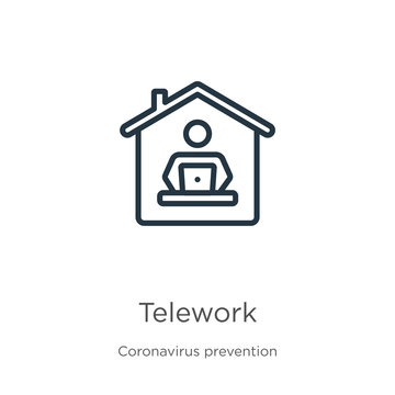 Telework icon. Thin linear telework outline icon isolated on white background from Coronavirus Prevention collection. Modern line vector sign, symbol, stroke for web and mobile