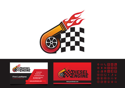 Turbocharger diesel flame finish flag logo business card template vector