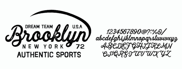 Fototapeta Vector illustration on the theme of denim, raw and jeans in New York City. Vintage design. Grunge background. Typography, t-shirt graphics, print, poster, banner, flyer, postcard.Handmade Vintage Font obraz