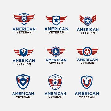 simple emblem american veteran shield patriotic national logo design vector