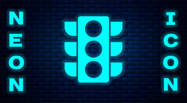 Glowing neon Traffic light icon isolated on brick wall background.  Vector Illustration