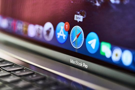 Batumi, Georgia - April 26, 2020. Browser Safari icon on the screen of the MacBook Pro 16 inch model of 2019 release