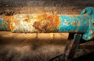 Drinking water supply system. Corrosion on the main pipe. Picture taken in Ukraine, Kiev region. Horizontal frame. Color image.