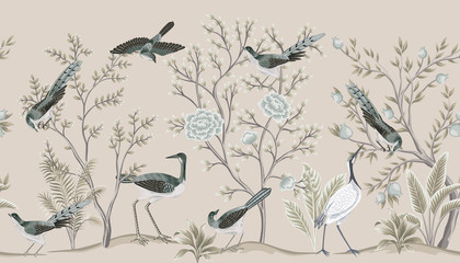 Vintage garden tree, birds, crane floral seamless border beige background. Exotic chinoiserie wallpaper.