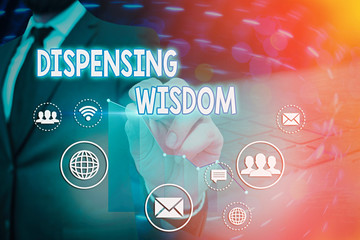 Conceptual hand writing showing Dispensing Wisdom. Concept meaning Giving intellectual facts on variety of subjects Wall mural
