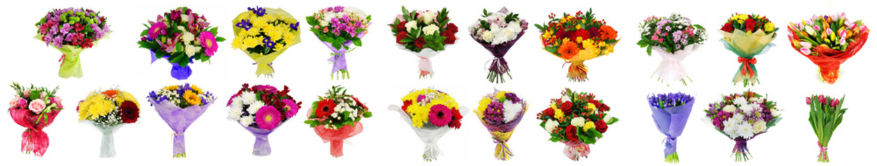 Set of flowers bouquets isolated on white collage