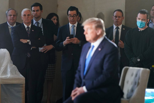 U.S. President Donald Trump participates in coronavirus disease (COVID-19) live town on hall on America returning to work held at Lincoln Memorial in Washington