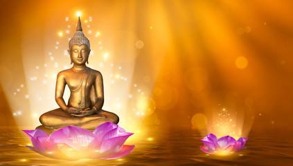 Poster Buddha Buddha statue water lotus Buddha standing on lotus flower on orange background