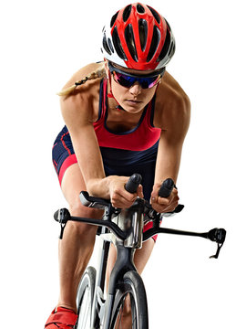 woman triathlon triathlete ironman athlete cyclist cycling isolated white background
