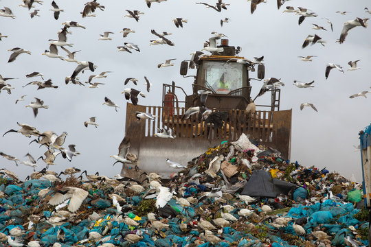 Rubbish piled on a landfill full of trash
