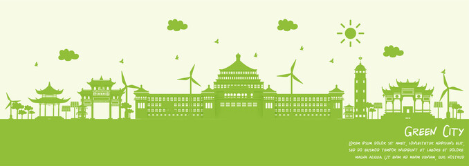 Fototapete - Green city of Chongqing, China, Environment and ecology concept. Vector illustration.