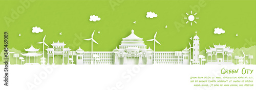 Fototapete Green city of Chongqing. Environment and ecology concept in paper cut style. Vector illustration.