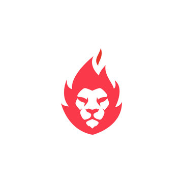 lion fire logo design. creative lion fire or lion flame logo design concept. clean and modern pictorial logo design. vector illustration