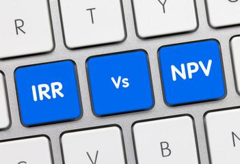 IRR Vs NPV - Inscription on Blue Keyboard Key.