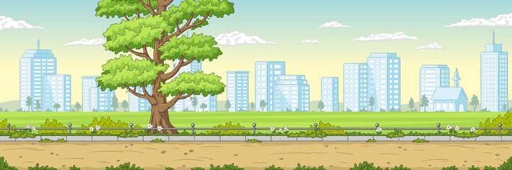 Fototapete - Summer garden landscape with cityscape. Hand drawn vector illustration with separate layers.