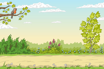Fototapete - Summer garden landscape with bird. Hand drawn vector illustration with separate layers.