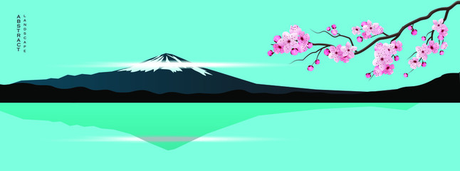 Foto auf Gartenposter Reef grun Abstract art in poster design. Japanese landscape with a mountain. Panorama scene template. Abstract template.