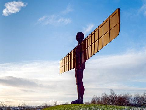 GATESHEAD, TYNE AND WEAR/UK - JANUARY 19 : View of the Angel of the North Sculpture in Gateshead, Tyne and Wear on January 19, 2018