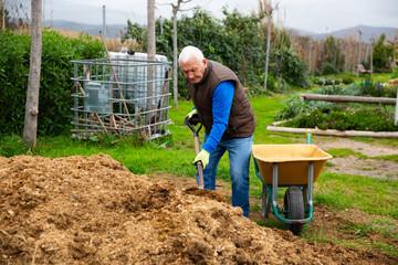 Senior man preparing manure for fertilizing land