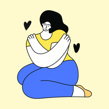 Girl sitting on the floor and hug herself. Self-care concept. Illustration on yellow background.