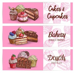 Dessert and sweet cakes, cupcakes and bakery vector sketch banners. Chocolate cream and muffin pastry desserts, patisserie confectionery panna cotta, tiramisu biscuit and pudding with strawberry