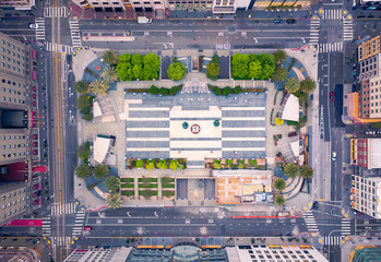 Fotomurales - Aerial View of Empty San Francisco Union Square during Shelter in Place