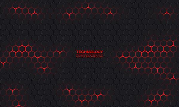 Dark hexagonal technology vector abstract background. Red bright energy flashes under hexagon in modern dark technology futuristic background vector illustration. Dark honeycomb texture grid.