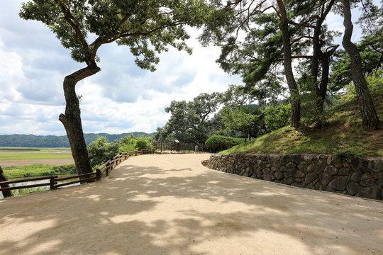 Beautiful park promenade. Andong, Gyeongsangbuk-do, Korea