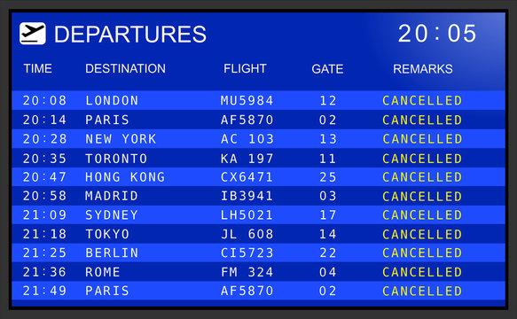 Flight departures board. Cancelled flights
