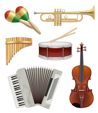 Music instruments. Audio items collection for pop or rock jazz music band vector illustrations. Equipment acoustic violin and button accordion