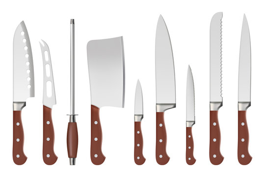Knives. Butcher professional sharp handle knives kitchenware restaurant accessories for cook vector closeup isolated pictures. Illustration kitchenware for butcher, knife tool