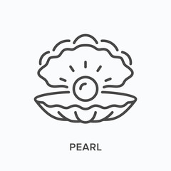Pearl line icon. Vector outline illustration of sea shell. Marine clam pictorgam
