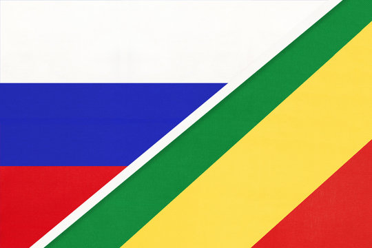 Russia vs Congo, symbol of two national flags. Relationship between African and Asian countries.