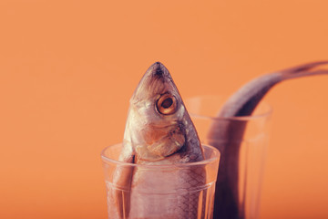 low salted herring in a cut glass on a bright background