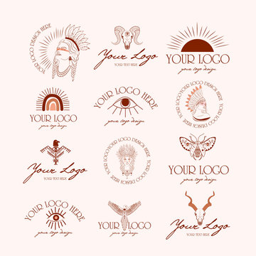 Collection of logotype with boho and tribal elements. Woman portrait, dreamcatcher, birds, animals skull, esoteric elements, insect and plants. Minimalist objects one line style. Vector Illustration.