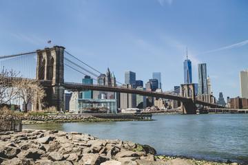 Poster Brooklyn Bridge View Of Suspension Bridge And Cityscape
