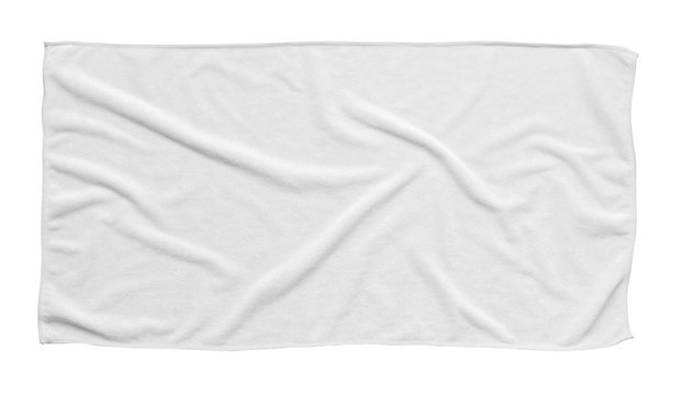 White beach towel isolated white background