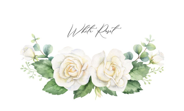 Watercolor vector hand painted wreath with green eucalyptus leaves and white roses.