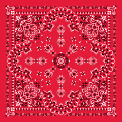 Vector ornament Bandana Print. Traditional ornamental ethnic pattern with paisley and flowers. Silk neck scarf or kerchief square pattern design style, best motive for print on fabric or papper.