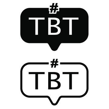 Tbt hashtag icon vector set. thursdat throw back illustration sign collection. abbreviation symbol.