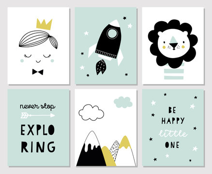 Set of posters for boys room or nursery in scandinavian style. Cute hand drawn illustration for print, baby shower invitation, greeting card. Prince, Lion, Mountains, space rocket, Explorer.