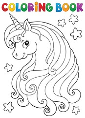 Poster Enfants Coloring book unicorn head theme 1