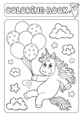 Photo sur Aluminium Enfants Coloring book unicorn with balloons 1