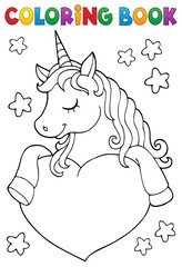 Poster Enfants Coloring book unicorn and heart 1